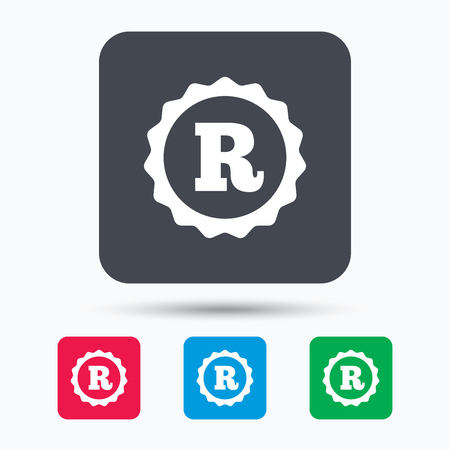 intellectual: Registered trademark icon. Intellectual work protection symbol. Colored square buttons with flat web icon. Vector