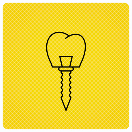 Dental implant icon. Oral prosthesis sign. Linear icon on orange background. Vector