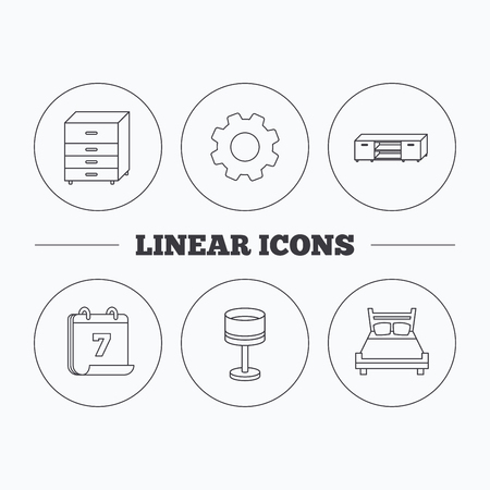 cosy: Double bed, table lamp and TV table icons. Chest of drawers linear sign. Flat cogwheel and calendar symbols. Linear icons in circle buttons. Vector