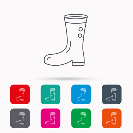 wellies: Boots icon. Garden rubber shoes sign. Waterproof wear symbol. Linear icons in squares on white background. Flat web symbols. Vector