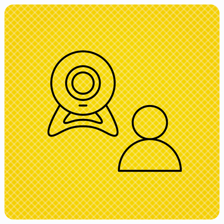 web conference: Video chat icon. Webcam chatting sign. Web conference symbol. Linear icon on orange background. Vector