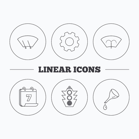 windscreen wiper: Motor oil change, traffic lights and wiper icons. Washing window, windscreen wiper linear signs. Flat cogwheel and calendar symbols. Linear icons in circle buttons. Vector Illustration