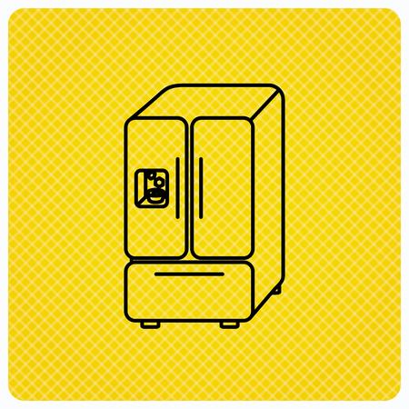 icebox: American fridge icon. Refrigerator with ice sign. Linear icon on orange background. Vector Illustration