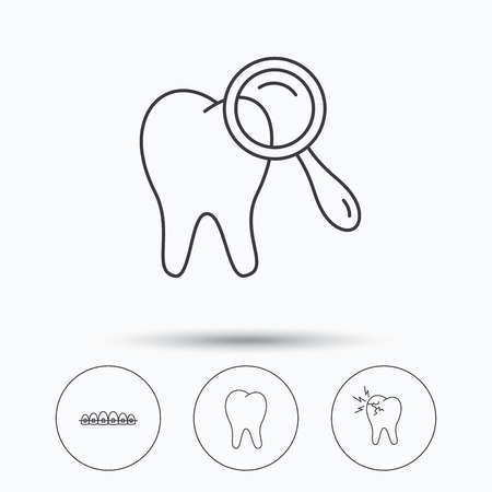 dental braces: Tooth, dental braces and toothache icons. Dental diagnostics linear sign. Linear icons in circle buttons. Flat web symbols. Vector