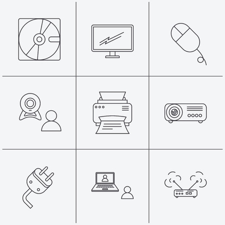 portative: Monitor, printer and wi-fi router icons. Video chat, electric plug and pc mouse linear signs. Projector, hard disk icons. Linear icons on white background. Vector Illustration