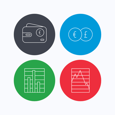 deceleration: Currency exchange, chart and euro wallet icons. Statistics graph linear signs. Linear icons on colored buttons. Flat web symbols. Vector Illustration
