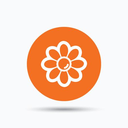 florist: Flower icon. Florist plant with petals symbol. Orange circle button with flat web icon. Vector