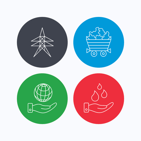 kropla deszczu: Save water, planet and electricity station icons. Minerals linear sign. Linear icons on colored buttons. Flat web symbols. Vector