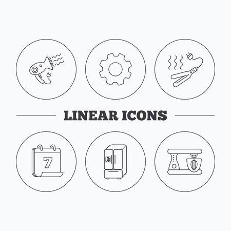 flat iron: Curling iron, hair dryer and blender icons. American style fridge linear sign. Flat cogwheel and calendar symbols. Linear icons in circle buttons. Vector