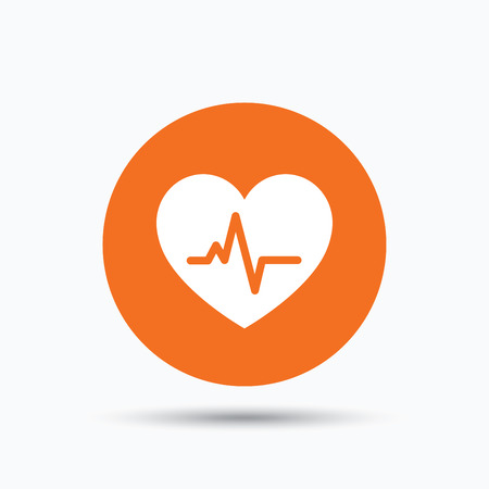 Heartbeat icon. Cardiology symbol. Medical pressure sign. Orange circle button with flat web icon. Vector