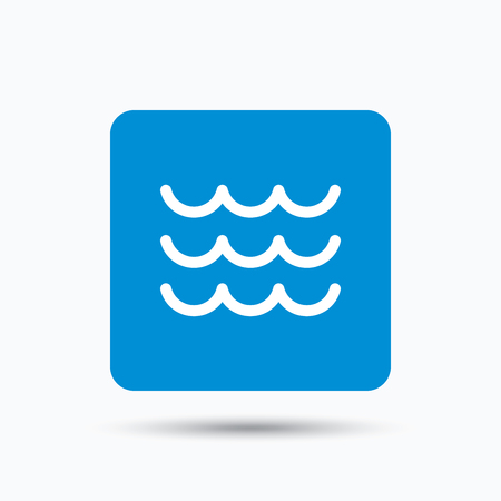water flow: Wave icon. Water stream symbol. Blue square button with flat web icon. Vector