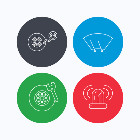 washing windows: Wheel pressure, tire service and siren alarm icons. Car repair service station linear sign. Linear icons on colored buttons. Flat web symbols. Vector Illustration