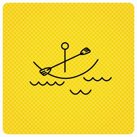 boating: Kayaking on waves icon. Boating or rafting sign. Canoeing extreme sport symbol. Linear icon on orange background. Vector Illustration