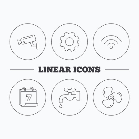 water supply: Wifi, video camera and ventilation icons. Water supply linear sign. Flat cogwheel and calendar symbols. Linear icons in circle buttons. Vector