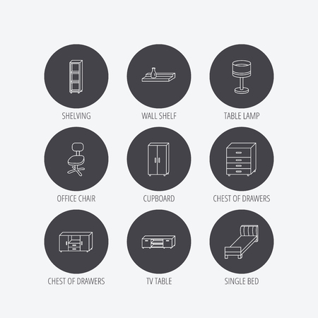 chest of drawers: Single bed, TV table and shelving icons. Office chair, table lamp and cupboard linear signs. Wall shelf, chest of drawers icons. Linear icons in circle buttons. Flat web symbols. Vector