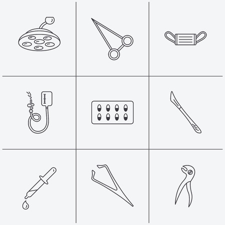 surgical mask: Medical mask, capsules and dental pliers icons. Surgical lamp, scalpel and drop counter linear signs. Tweezers, pipette and forceps flat line icons. Linear icons on white background. Vector