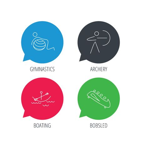 boating: Colored speech bubbles. Gymnastics, boating and archery icons. Bobsled linear sign. Flat web buttons with linear icons. Vector Illustration