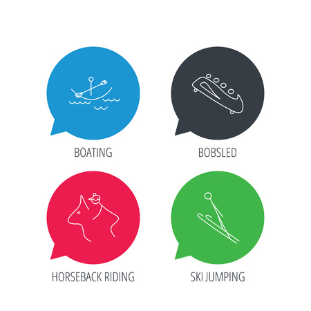 bobsled: Colored speech bubbles. Boating, horseback riding and bobsled icons. Ski jumping linear sign. Flat web buttons with linear icons. Vector