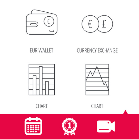 deceleration: Achievement and video cam signs. Currency exchange, chart and euro wallet icons. Statistics graph linear signs. Calendar icon. Vector