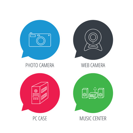 pc case: Colored speech bubbles. Photo camera, pc case and music center icons. Web camera linear sign. Flat web buttons with linear icons. Vector Illustration
