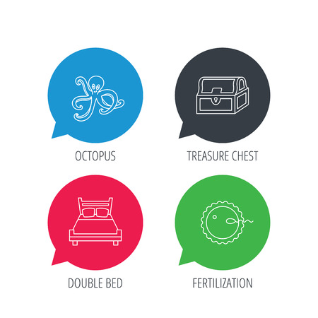 fertilization: Colored speech bubbles. Fertilization, double bed and octopus icons. Treasure chest linear signs. Flat web buttons with linear icons. Vector