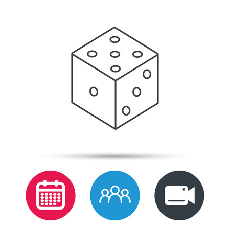 three dots: Dice icon. Casino gaming tool sign. Winner bet symbol. Group of people, video cam and calendar icons. Vector