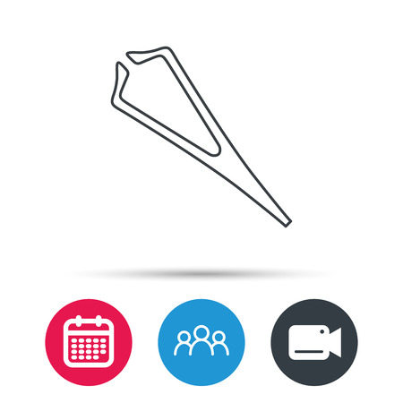 Medical tweezers icon. Cosmetic equipment sign. Group of people, video cam and calendar icons. Vector