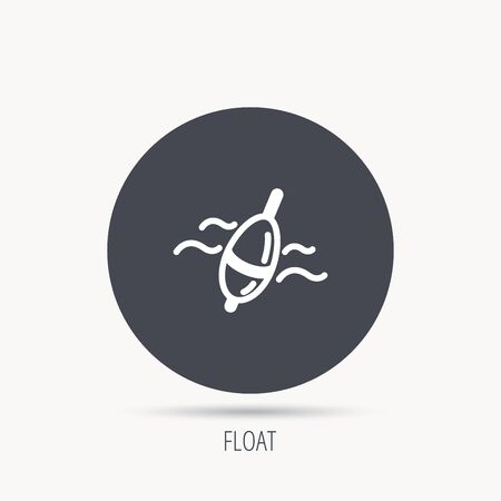 fishing float: Fishing float icon. Bobber in waves sign. Angling symbol. Round web button with flat icon. Vector Illustration