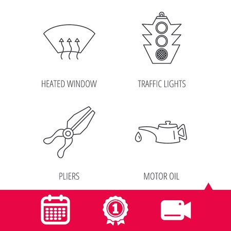 heated: Achievement and video cam signs. Motor oil change, traffic lights and pliers icons. Heated window linear sign. Calendar icon. Vector