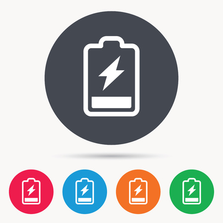 accumulator: Battery power icon. Charging accumulator symbol. Colored circle buttons with flat web icon. Vector