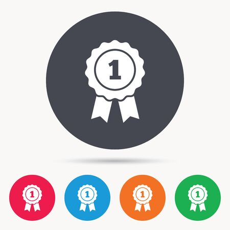 Winner medal icon. Award emblem symbol. Colored circle buttons with flat web icon. Vector Illustration