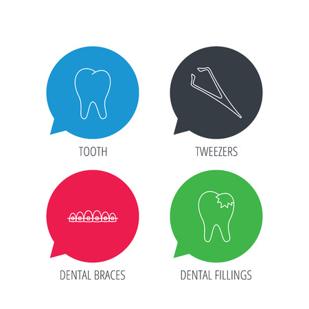 tweezers: Colored speech bubbles. Dental braces, fillings and tooth icons. Tweezers linear sign. Flat web buttons with linear icons. Vector