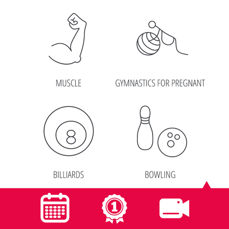 pregnancy exercise: Achievement and video cam signs. Billiards, bowling and fitness sport icons. Muscle, gymnastics for pregnant linear signs. Calendar icon. Vector Illustration
