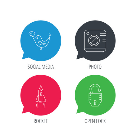 tweet icon: Colored speech bubbles. Photo, social media and rocket icons. Open lock linear sign. Flat web buttons with linear icons. Vector Illustration
