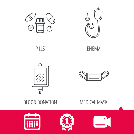 einlauf: Achievement and video cam signs. Medical mask, blood and pills icons. Enema linear sign. Calendar icon. Vector
