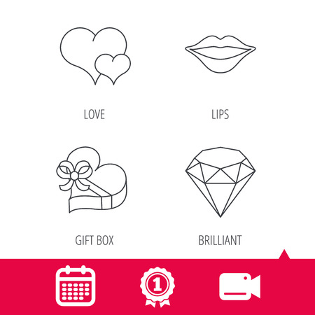 brilliant heart: Achievement and video cam signs. Love heart, brilliant and gift box icons. Kiss lips linear sign. Calendar icon. Vector