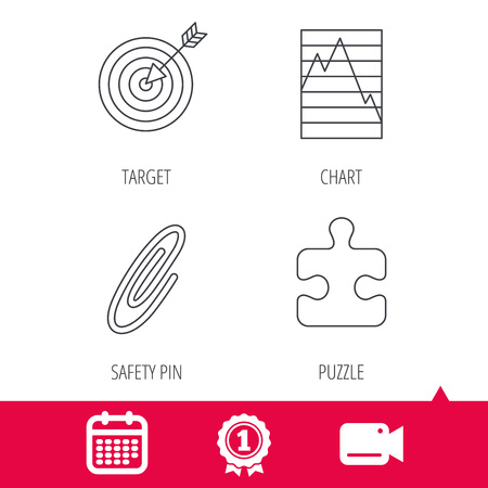 achievement charts: Achievement and video cam signs. Puzzle, graph charts and target icons. Safety pin linear sign. Calendar icon. Vector