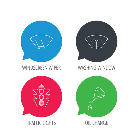 wiper: Colored speech bubbles. Motor oil change, traffic lights and wiper icons. Washing window, windscreen wiper linear signs. Flat web buttons with linear icons. Vector