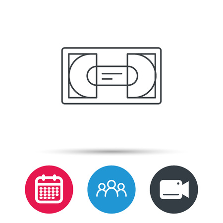 vcr: Video cassette icon. VHS tape sign. Group of people, video cam and calendar icons. Vector Illustration