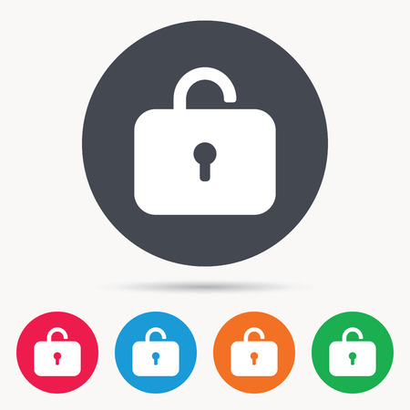 private access: Lock icon. Privacy locker sign. Private access symbol. Colored circle buttons with flat web icon. Vector Illustration