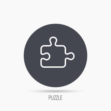 psychic: Puzzle icon. Jigsaw logical game sign. Boardgame piece symbol. Round web button with flat icon. Vector