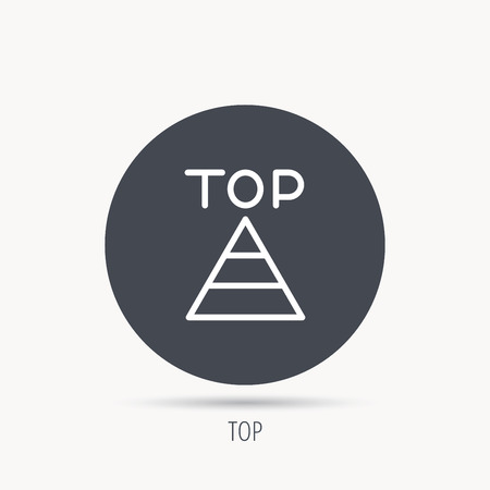 best result: Triangle icon. Top or best result sign. Success symbol. Round web button with flat icon. Vector Illustration