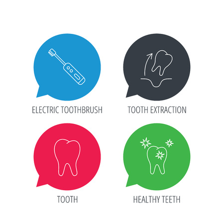 tooth extraction: Colored speech bubbles. Tooth extraction, electric toothbrush icons. Healthy teeth linear sign. Flat web buttons with linear icons. Vector