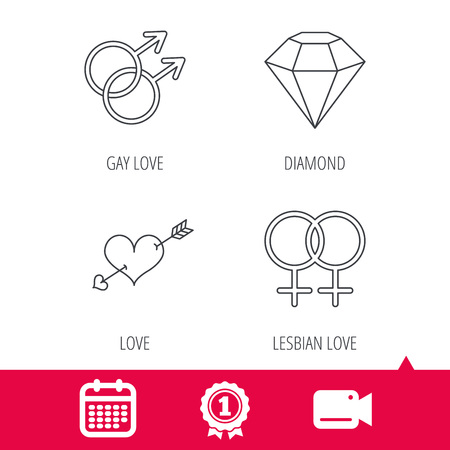 lesbian love: Achievement and video cam signs. Love heart, diamond and lesbian love icons. Gay love linear sign. Calendar icon. Vector