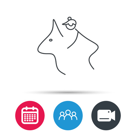 Horseback riding icon. Jockey rider sign. Horse sport symbol. Group of people, video cam and calendar icons. Vector