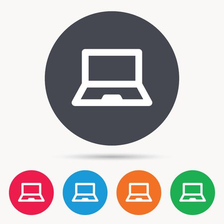 ultrabook: Computer icon. Notebook or laptop pc symbol. Colored circle buttons with flat web icon. Vector
