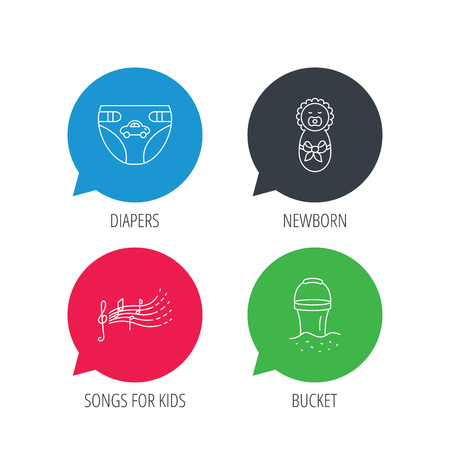 songs: Colored speech bubbles. Diapers, newborn baby and songs for kids icons. Beach bucket linear sign. Flat web buttons with linear icons. Vector