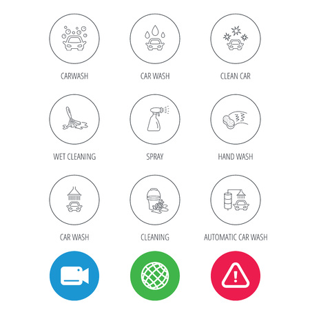 Car wash icons. Automatic cleaning station linear signs. Bucket with foam bubbles, sponge and spray flat line icons. Video cam, hazard attention and internet globe icons. Vector Illustration