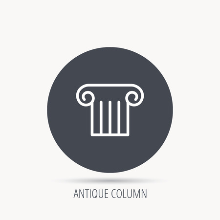 column icon: Antique column icon. Ancient museum sign. Architectural pillar symbol. Round web button with flat icon. Vector