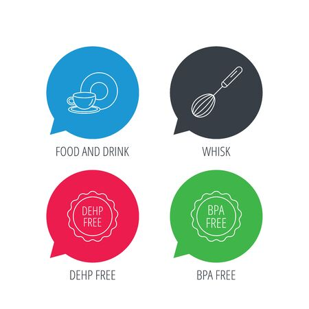 bpa: Colored speech bubbles. Food and drink, whisk and BPA free icons. DEHP free linear sign. Flat web buttons with linear icons. Vector